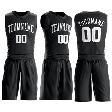 Custom Black White Round Neck Suit Basketball Jersey