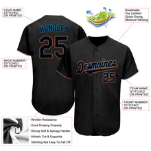 Load image into Gallery viewer, Custom Black Black-Light Blue Authentic Baseball Jersey