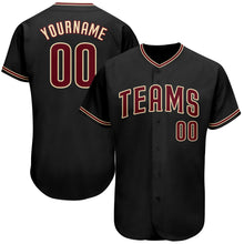 Load image into Gallery viewer, Custom Black Crimson-Khaki Authentic Baseball Jersey