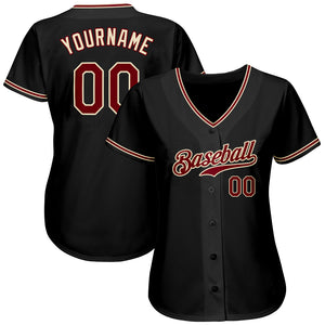 Custom Black Crimson-Khaki Authentic Baseball Jersey