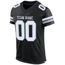 Load image into Gallery viewer, Custom Black White-Silver Mesh Authentic Football Jersey