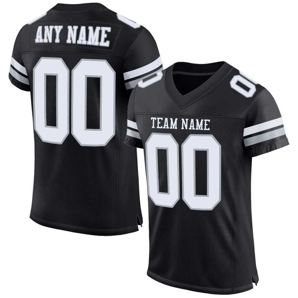 Custom Black White-Silver Mesh Authentic Football Jersey