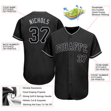 Load image into Gallery viewer, Custom Black Black-Gray Authentic Baseball Jersey