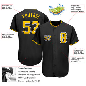 Custom Black Gold-White Authentic Baseball Jersey