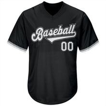 Load image into Gallery viewer, Custom Black White-Gray Authentic Throwback Rib-Knit Baseball Jersey Shirt