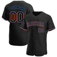 Load image into Gallery viewer, Custom Black Black-Powder Blue Authentic Baseball Jersey