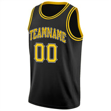 Load image into Gallery viewer, Custom Black Gold-White Round Neck Rib-Knit Basketball Jersey