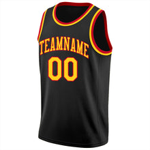Load image into Gallery viewer, Custom Black Gold-Red Round Neck Rib-Knit Basketball Jersey