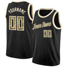 Load image into Gallery viewer, Custom Black Camo-Cream Round Neck Rib-Knit Basketball Jersey
