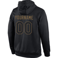 Load image into Gallery viewer, Custom Stitched Black Black-Old Gold Sports Pullover Sweatshirt Hoodie