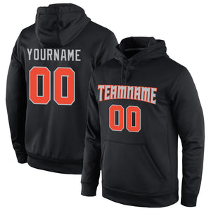 Custom Stitched Black Orange-Gray Sports Pullover Sweatshirt Hoodie