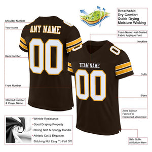 Custom Brown White-Gold Mesh Authentic Football Jersey