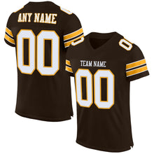 Load image into Gallery viewer, Custom Brown White-Gold Mesh Authentic Football Jersey