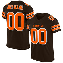 Load image into Gallery viewer, Custom Brown Orange-White Mesh Authentic Football Jersey