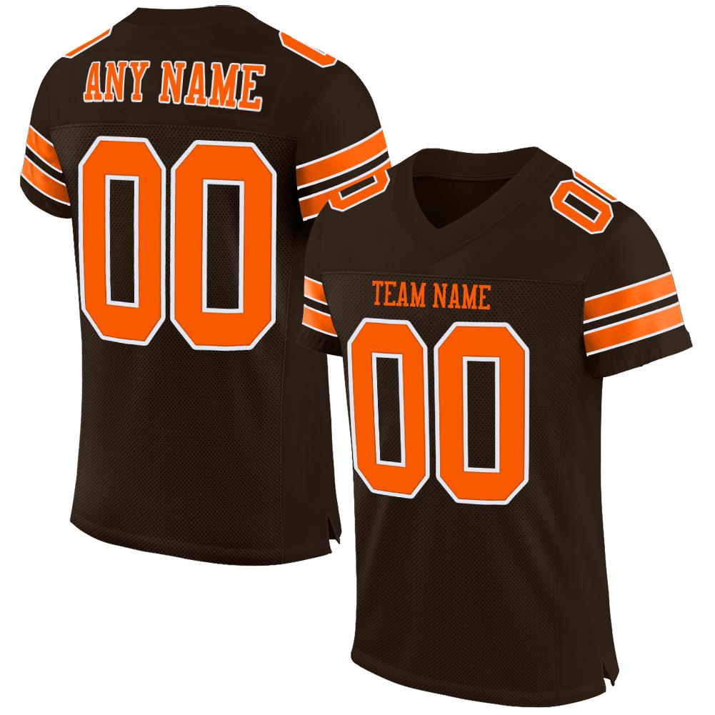 Custom Brown Orange-White Mesh Authentic Football Jersey