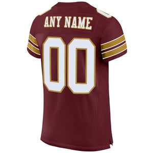 Custom Burgundy White-Old Gold Mesh Authentic Football Jersey