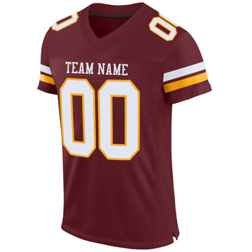 Custom Burgundy White-Gold Mesh Authentic Football Jersey