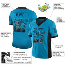 Load image into Gallery viewer, Custom Panther Blue Black-Gray Mesh Drift Fashion Football Jersey
