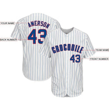 Load image into Gallery viewer, Custom White Royal Strip Royal-Red Baseball Jersey