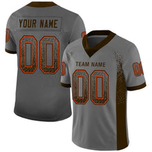 Load image into Gallery viewer, Custom Gray Brown-Orange Mesh Drift Fashion Football Jersey