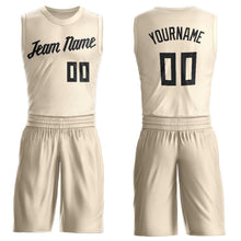Load image into Gallery viewer, Custom Cream Black Round Neck Suit Basketball Jersey