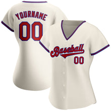 Load image into Gallery viewer, Custom Cream Red-Royal Authentic Baseball Jersey