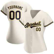 Load image into Gallery viewer, Custom Cream Navy-Gold Authentic Baseball Jersey