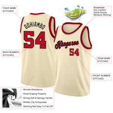 Load image into Gallery viewer, Custom Cream Red-Black Round Neck Rib-Knit Basketball Jersey