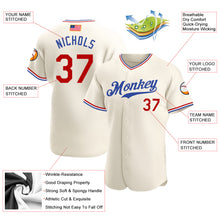 Load image into Gallery viewer, Custom Cream Red-Royal Authentic American Flag Fashion Baseball Jersey
