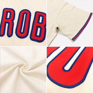 Custom Cream Red-Royal Authentic American Flag Fashion Baseball Jersey