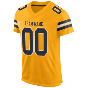 Custom Gold Navy-White Mesh Authentic Football Jersey