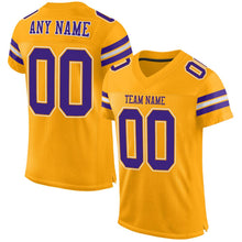 Load image into Gallery viewer, Custom Gold Purple-White Mesh Authentic Football Jersey