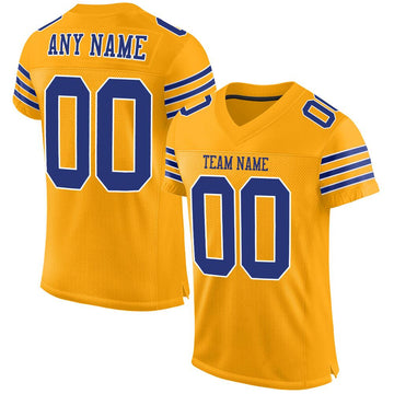 Custom Gold Royal-White Mesh Authentic Football Jersey