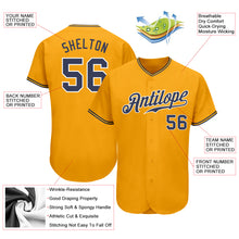 Load image into Gallery viewer, Custom Gold Navy-White Authentic Baseball Jersey