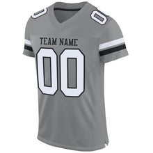 Load image into Gallery viewer, Custom Gray White-Black Mesh Authentic Football Jersey