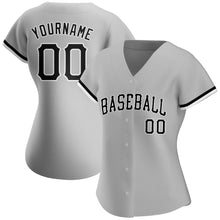 Load image into Gallery viewer, Custom Gray Black-White Authentic Baseball Jersey