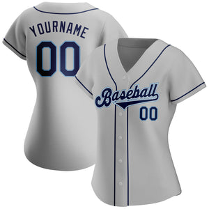 Custom Gray Navy-Powder Blue Authentic Baseball Jersey