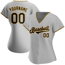 Load image into Gallery viewer, Custom Gray Black-Gold Authentic Baseball Jersey