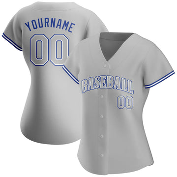 Custom Gray Gray Royal Authentic Baseball Jersey
