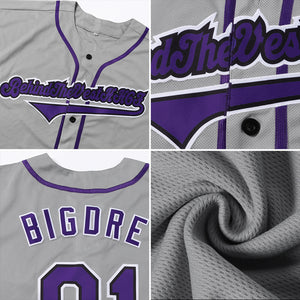 Custom Gray Purple-Black Authentic Baseball Jersey