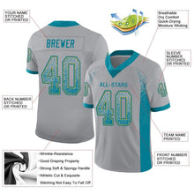 Load image into Gallery viewer, Custom Light Gray Teal-Old Gold Mesh Drift Fashion Football Jersey