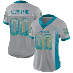 Custom Light Gray Teal-Old Gold Mesh Drift Fashion Football Jersey