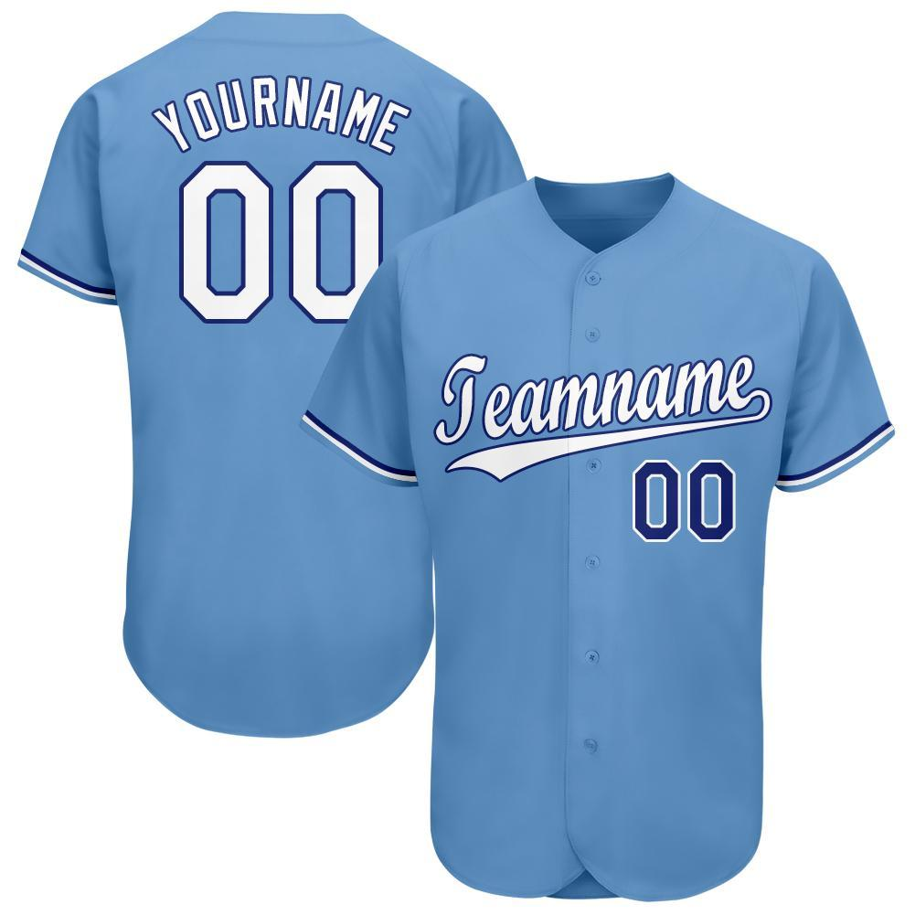 Custom Light Blue White-Royal Baseball Jersey