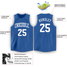 Load image into Gallery viewer, Custom Blue White Round Neck Basketball Jersey