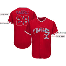 Load image into Gallery viewer, Custom Red Navy-Gray Baseball Jersey
