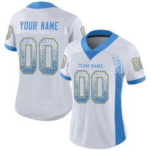 Load image into Gallery viewer, Custom White Powder Blue-Gold Mesh Drift Fashion Football Jersey