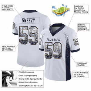 Custom White Navy-Old Gold Mesh Drift Fashion Football Jersey