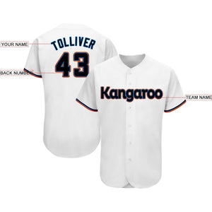 Custom White Black-Orange Baseball Jersey