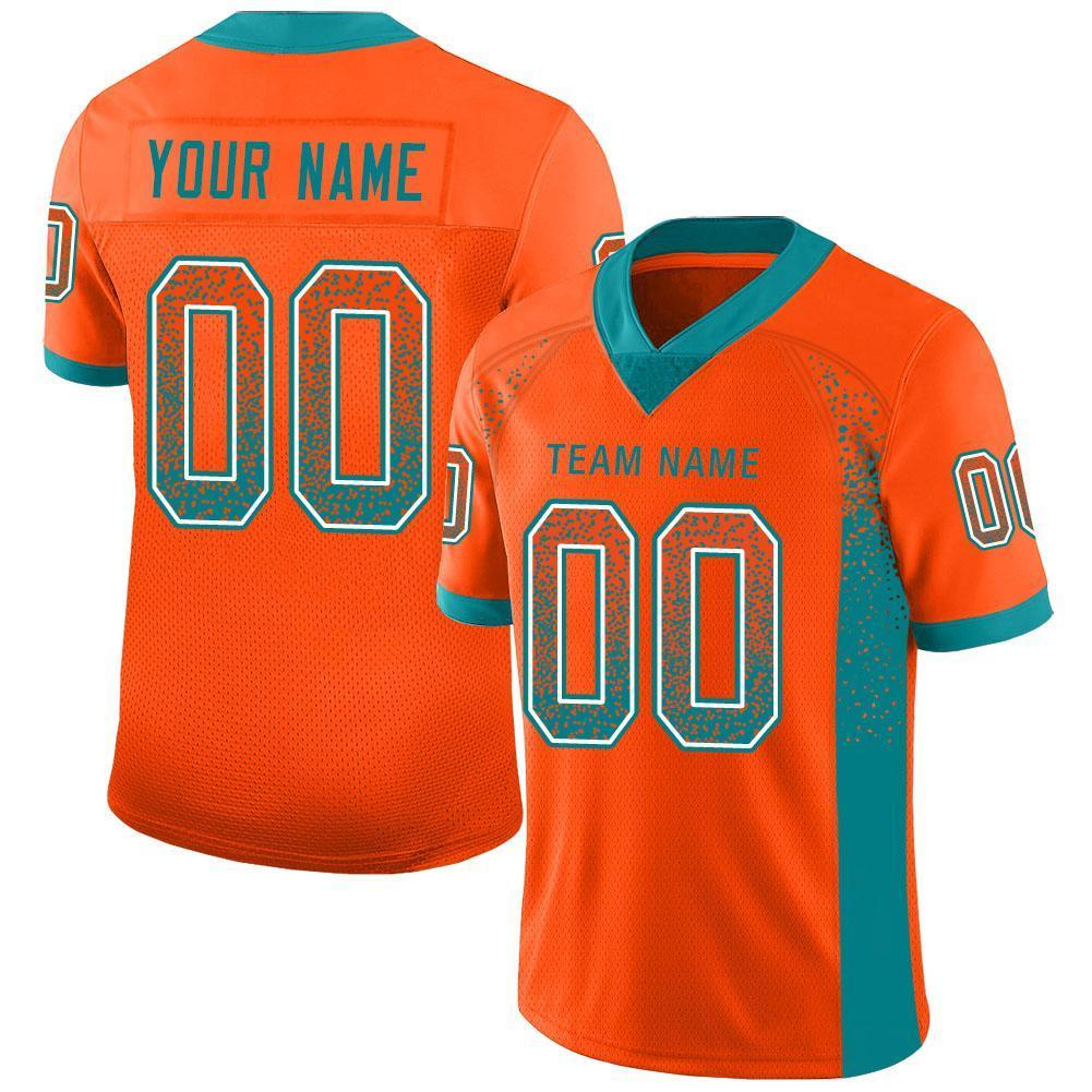 Custom Orange Aqua-White Mesh Drift Fashion Football Jersey