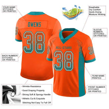 Load image into Gallery viewer, Custom Orange Aqua-White Mesh Drift Fashion Football Jersey